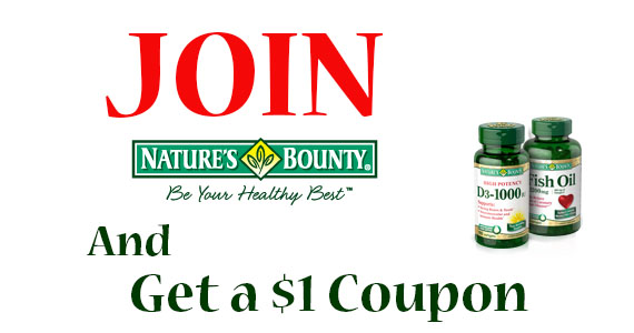 Join Nature's Bounty & Get a $1 Coupon