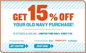 Save 15 off at Old Navy