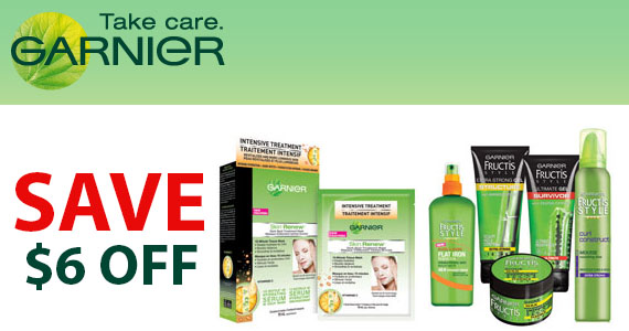 Save Up to $6 off Garnier Products
