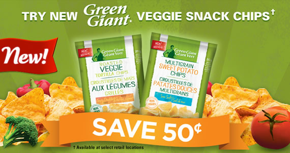 Save 50¢ on New Green Giant Veggie Snack Chips
