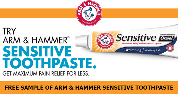 Free Sample of Arm & Hammer Sensitive Toothpaste