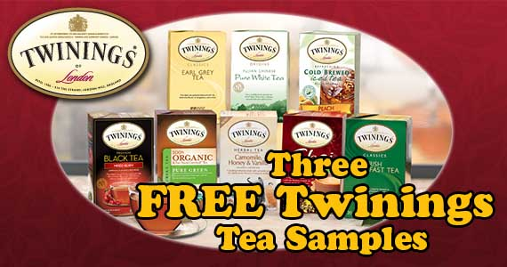 Three FREE Twinings Tea Samples