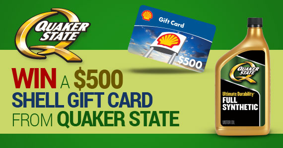 Win a $500 Shell Gift Card from Quaker State