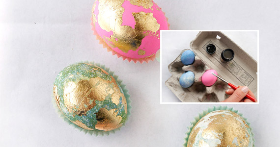 Gold Leaf Easter Eggs DIY From Freutcake